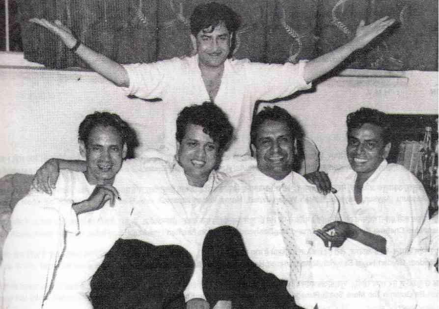 Raj Kapoor with Hasrat Jaipuri, Shnakar-Jaikishan and Shailendra